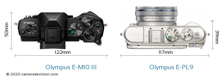 Olympus E-M10 MIII vs Olympus E-PL9 Camera Size Comparison - Top View
