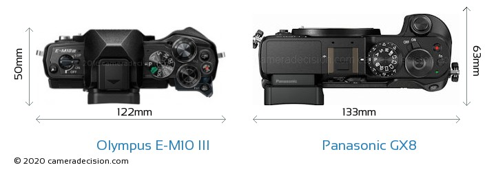 Olympus E-M10 MIII vs Panasonic GX8 Camera Size Comparison - Top View
