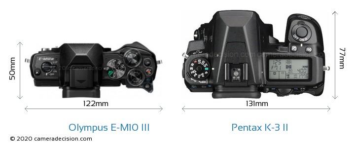 Olympus E-M10 MIII vs Pentax K-3 II Camera Size Comparison - Top View