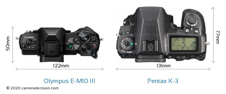 Olympus E-M10 MIII vs Pentax K-3 Camera Size Comparison - Top View