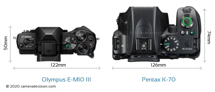 Olympus E-M10 MIII vs Pentax K-70 Camera Size Comparison - Top View