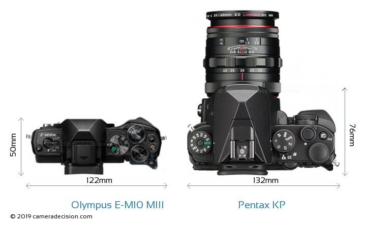 Olympus E-M10 MIII vs Pentax KP Camera Size Comparison - Top View