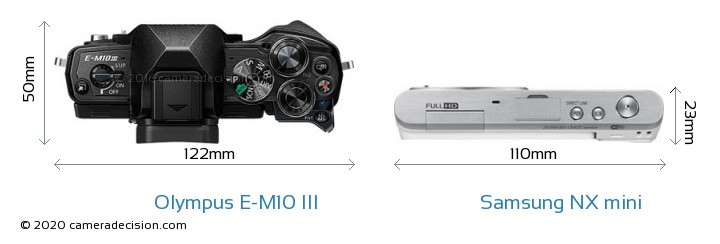 Olympus E-M10 MIII vs Samsung NX mini Camera Size Comparison - Top View