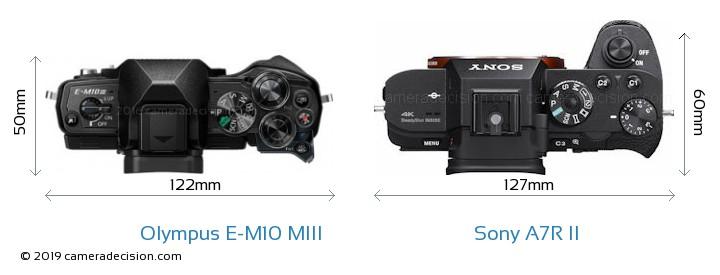 Olympus E-M10 MIII vs Sony A7R II Camera Size Comparison - Top View