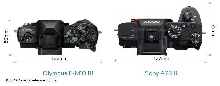 Olympus E-M10 MIII vs Sony A7R III Camera Size Comparison - Top View