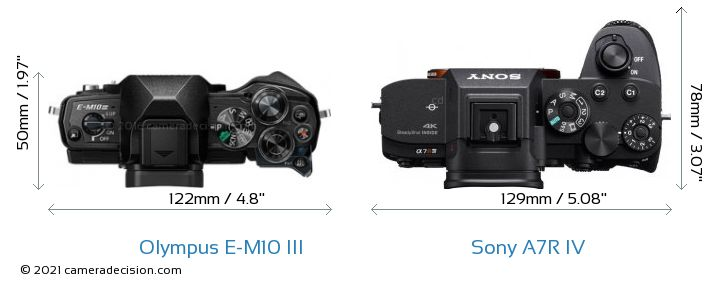 Olympus E-M10 MIII vs Sony A7R IV Camera Size Comparison - Top View