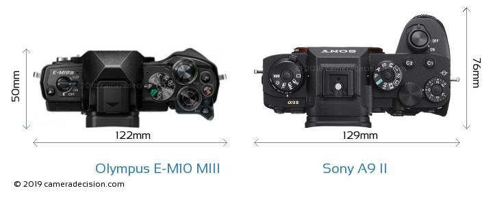 Olympus E-M10 MIII vs Sony A9 II Camera Size Comparison - Top View