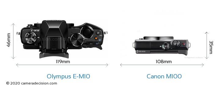 Olympus E-M10 vs Canon M100 Camera Size Comparison - Top View