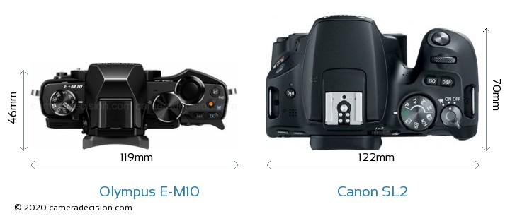 Olympus E-M10 vs Canon SL2 Camera Size Comparison - Top View