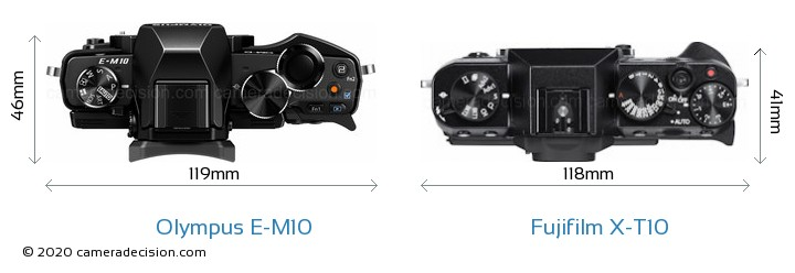 Olympus E-M10 vs Fujifilm X-T10 Camera Size Comparison - Top View