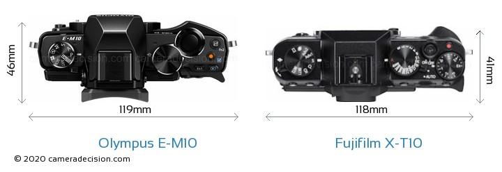 Olympus E-M10 vs Fujifilm X-T10 Camera Size Comparison - Top View