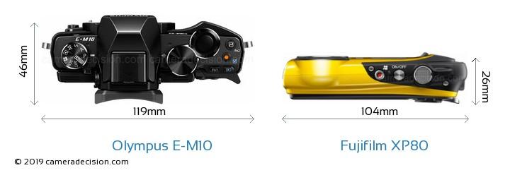 Olympus E-M10 vs Fujifilm XP80 Camera Size Comparison - Top View