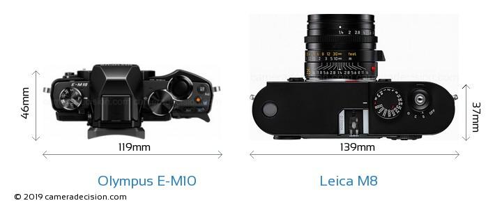 Olympus E-M10 vs Leica M8 Camera Size Comparison - Top View
