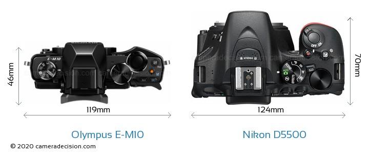 Olympus E-M10 vs Nikon D5500 Camera Size Comparison - Top View