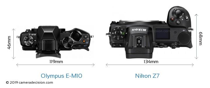 Olympus E-M10 vs Nikon Z7 Camera Size Comparison - Top View