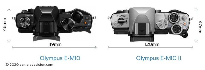 Olympus E-M10 vs Olympus E-M10 II Camera Size Comparison - Top View