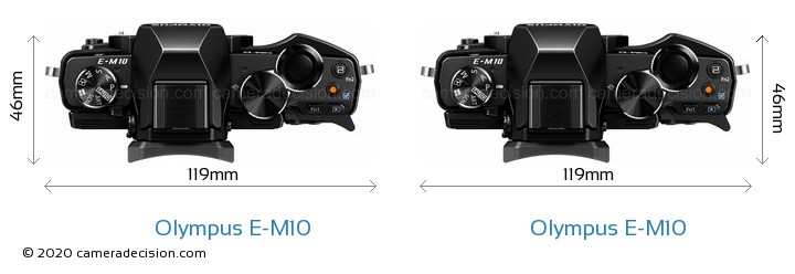 Olympus E-M10 vs Olympus E-M10 Camera Size Comparison - Top View