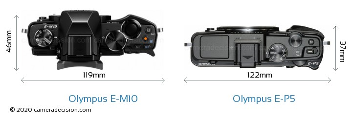 Olympus E-M10 vs Olympus E-P5 Camera Size Comparison - Top View