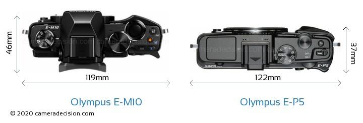 Olympus E-M10 vs Olympus E-P5 Camera Size Comparison - Top View