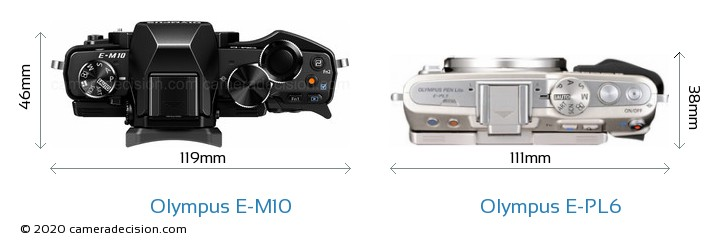 Olympus E-M10 vs Olympus E-PL6 Camera Size Comparison - Top View
