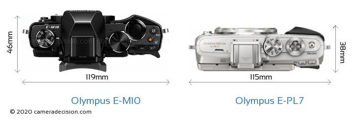 Olympus E-M10 vs Olympus E-PL7 Camera Size Comparison - Top View