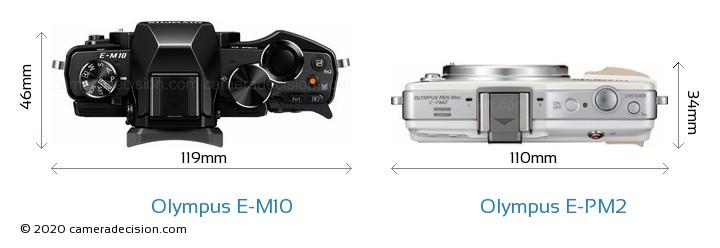 Olympus E-M10 vs Olympus E-PM2 Camera Size Comparison - Top View