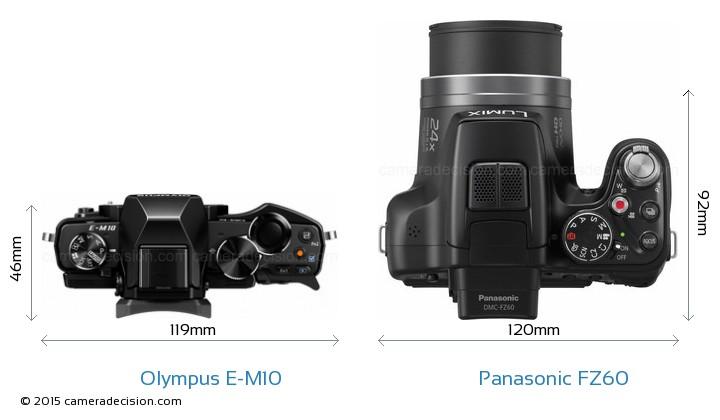 Olympus E-M10 vs Panasonic FZ60 Camera Size Comparison - Top View