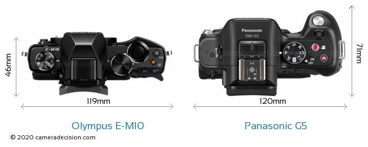 Olympus E-M10 vs Panasonic G5 Camera Size Comparison - Top View