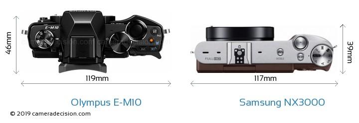 Olympus E-M10 vs Samsung NX3000 Camera Size Comparison - Top View