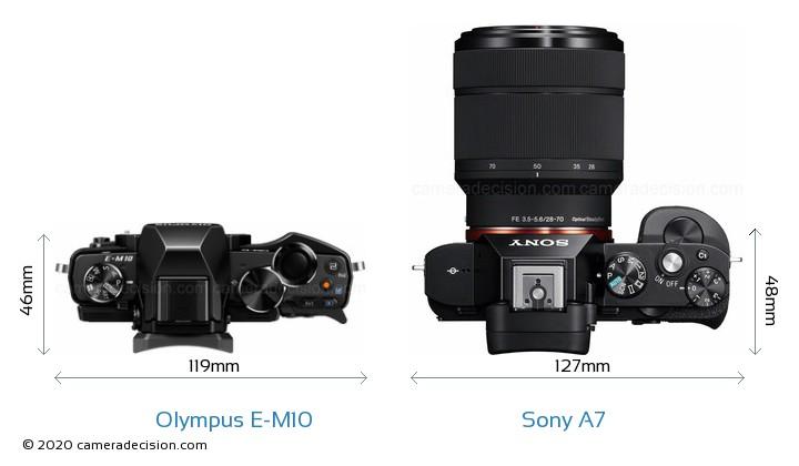 Olympus E-M10 vs Sony A7 Camera Size Comparison - Top View