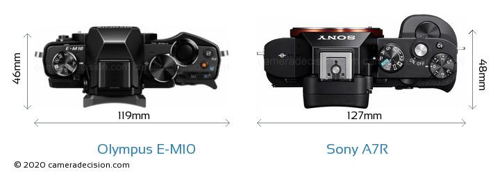 Olympus E-M10 vs Sony A7R Camera Size Comparison - Top View