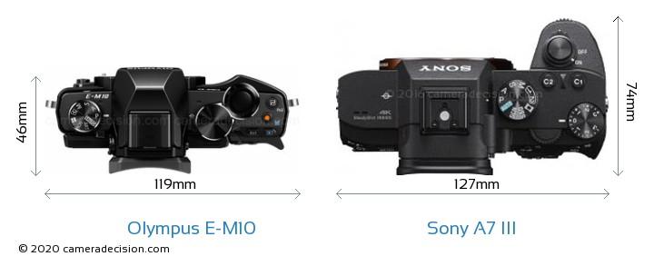 Olympus E-M10 vs Sony A7 III Camera Size Comparison - Top View