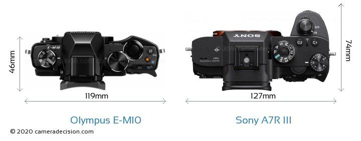 Olympus E-M10 vs Sony A7R III Camera Size Comparison - Top View
