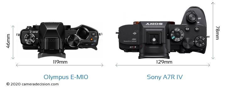 Olympus E-M10 vs Sony A7R IV Camera Size Comparison - Top View