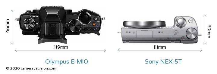 Olympus E-M10 vs Sony NEX-5T Camera Size Comparison - Top View