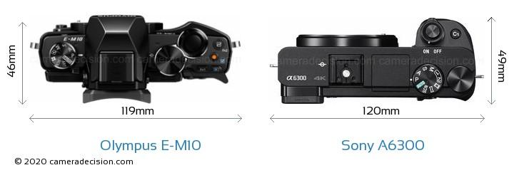 Olympus E-M10 vs Sony A6300 Camera Size Comparison - Top View