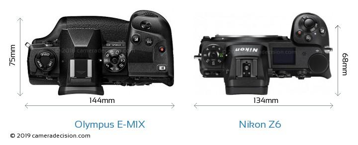 Olympus E-M1X vs Nikon Z6 Camera Size Comparison - Top View