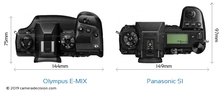 Olympus E-M1X vs Panasonic S1 Camera Size Comparison - Top View