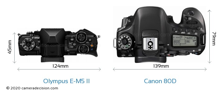 Olympus E-M5 II vs Canon 80D Camera Size Comparison - Top View