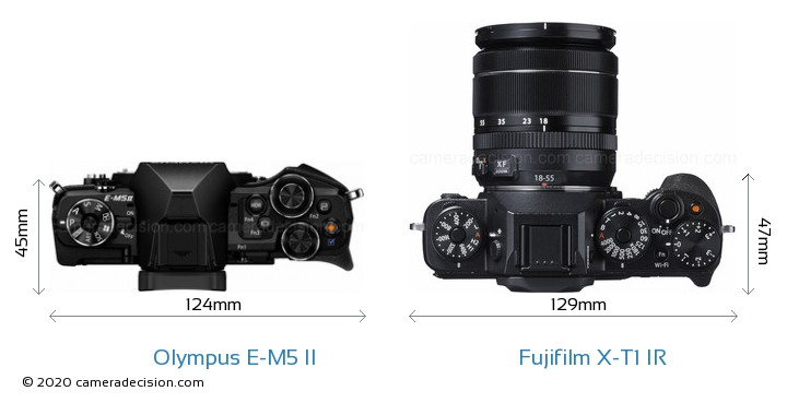 Olympus E-M5 II vs Fujifilm X-T1 IR Camera Size Comparison - Top View
