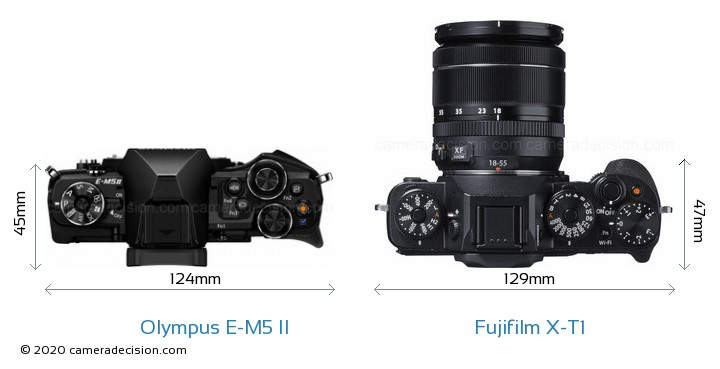 Olympus E-M5 II vs Fujifilm X-T1 Camera Size Comparison - Top View