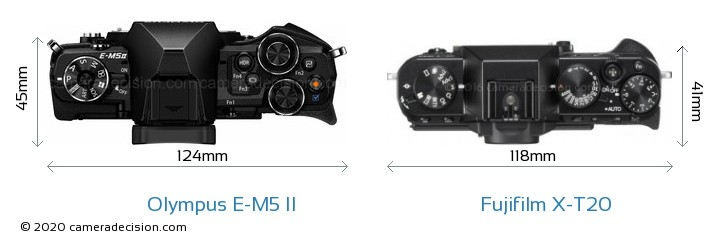 Olympus E-M5 II vs Fujifilm X-T20 Camera Size Comparison - Top View
