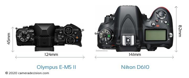 Olympus E-M5 II vs Nikon D610 Camera Size Comparison - Top View