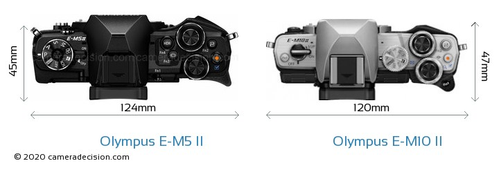 Olympus E-M5 II vs Olympus E-M10 II Camera Size Comparison - Top View