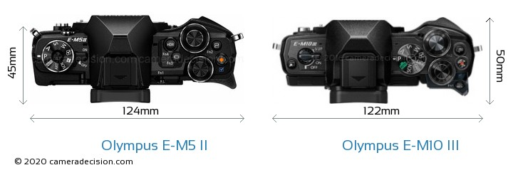 Olympus E-M5 II vs Olympus E-M10 MIII Camera Size Comparison - Top View