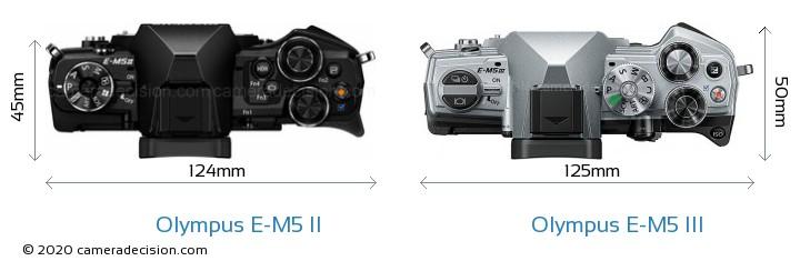 Olympus E-M5 II vs Olympus E-M5 III Camera Size Comparison - Top View