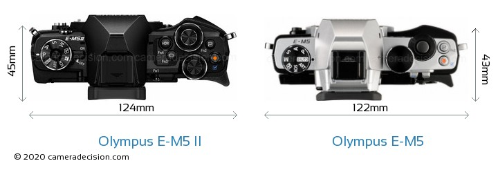 Olympus E-M5 II vs Olympus E-M5 Camera Size Comparison - Top View