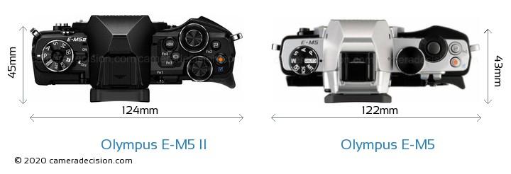 Olympus E-M5 II vs Olympus E-M5 Camera Size Comparison - Top View