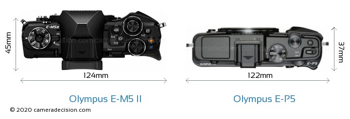 Olympus E-M5 II vs Olympus E-P5 Camera Size Comparison - Top View