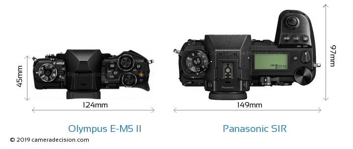Olympus E-M5 II vs Panasonic S1R Camera Size Comparison - Top View